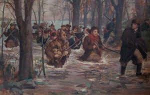 a 1898 color oil painting on canvas by F. C. Yohn of a battle during the Revolutionary War. Soldiers travelled across Horse Shoe Plain, four miles of wading in water, sometimes breast high.